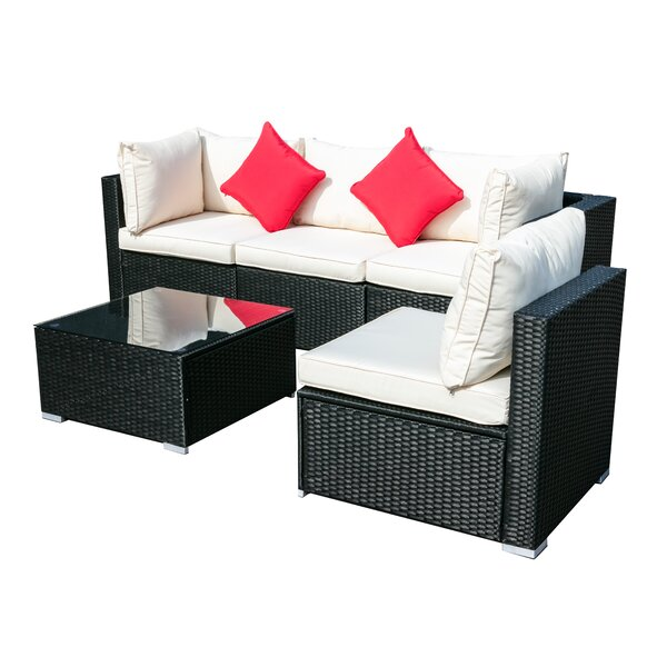 Andalucia 5 Piece Rattan Sectional Seating Group with Cushions by Latitude Run
