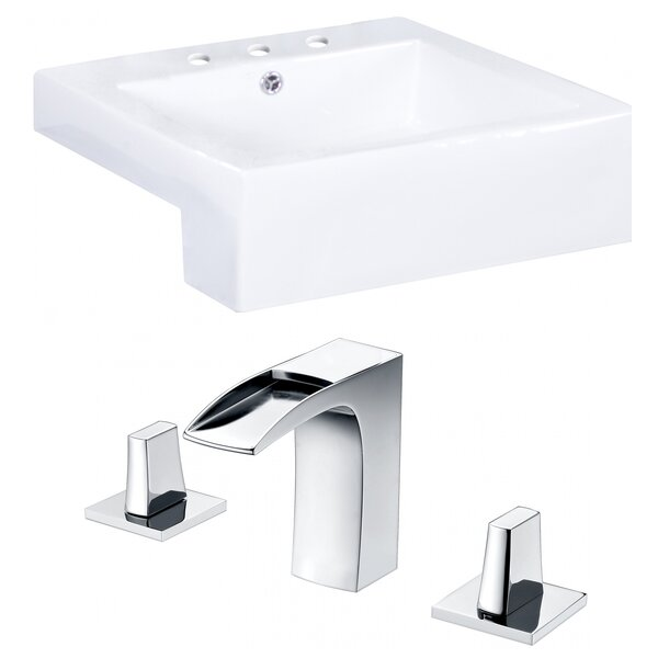 Anirudh Ceramic Square Vessel Bathroom Sink with Faucet and Overflow