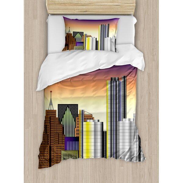 Detroit Retro Style Downtown Illustration Metropolis High Rise Buildings Urban Life Duvet Set by East Urban Home