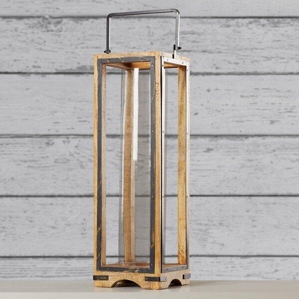 Granger Wood Metal Glass Lantern by Loon Peak