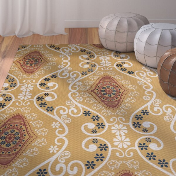 Soluri Gold Area Rug by Bungalow Rose