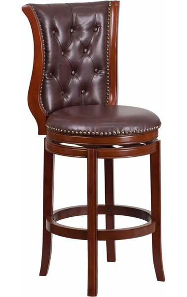 Rouillard 30'' Button Tufted Swivel Bar Stool by Astoria Grand