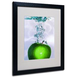 Apple Splash II by Roderick Stevens Matted Framed Painting Print in Green by Trademark Fine Art