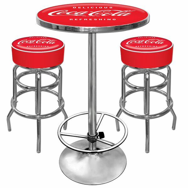 Coca Cola 3 Piece Pub Table Set by Trademark Global Trademark Global