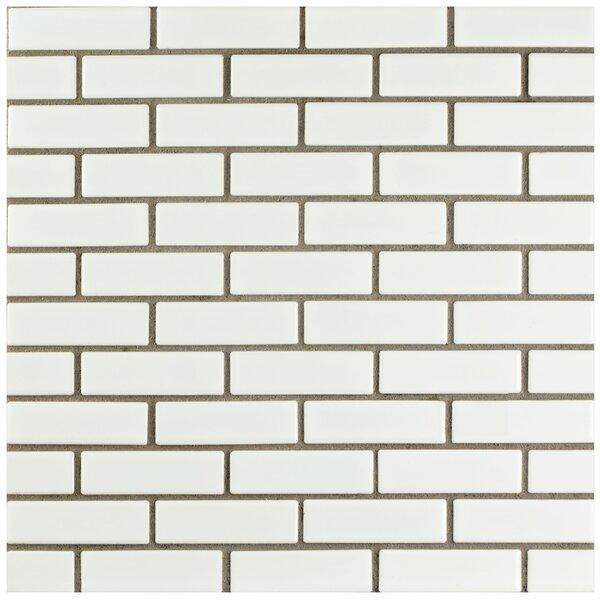 Retro Brick 0.75 x 3 Porcelain Mosaic Tile in Glossy White by EliteTile