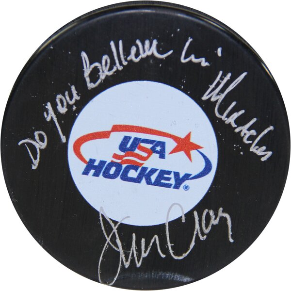 Decorative Jim Craig Signed USA Hockey Puck by Steiner Sports