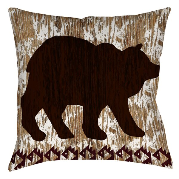 Wilderness Bear Indoor/Outdoor Throw Pillow by Manual Woodworkers & Weavers