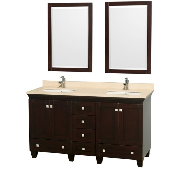 Acclaim 60 Double Espresso Bathroom Vanity Set with Mirror by Wyndham Collection