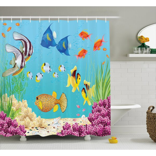 Water Plants and Fishes Decor Shower Curtain by East Urban Home