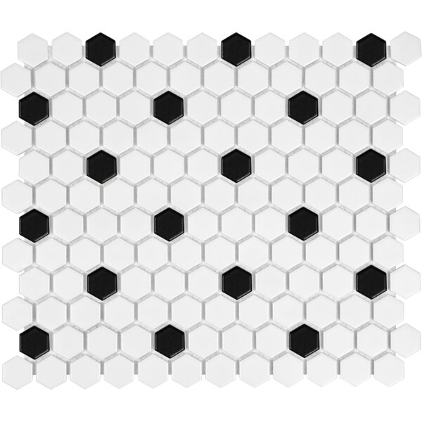 Sail 1 x 1 Ceramic/Porcelain Mosaic Tile in Onyx/White by Parvatile