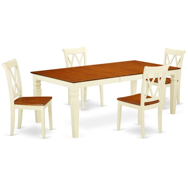 Kostka 5 Piece Extendable Solid Wood Dining Set by August Grove
