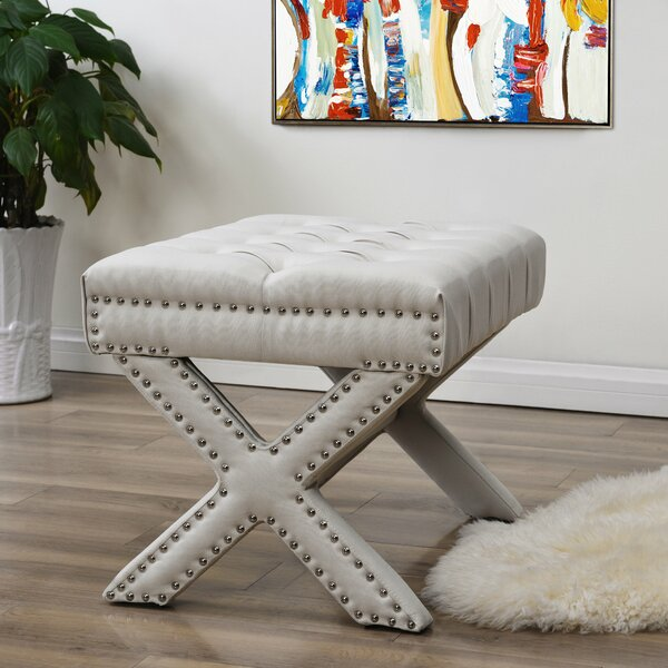 Kenny Button Tufted Ottoman by Inspired Home Co.