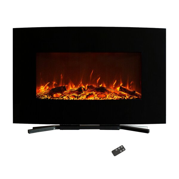 Carrera Curved Wall Mounted Electric Fireplace By Orren Ellis