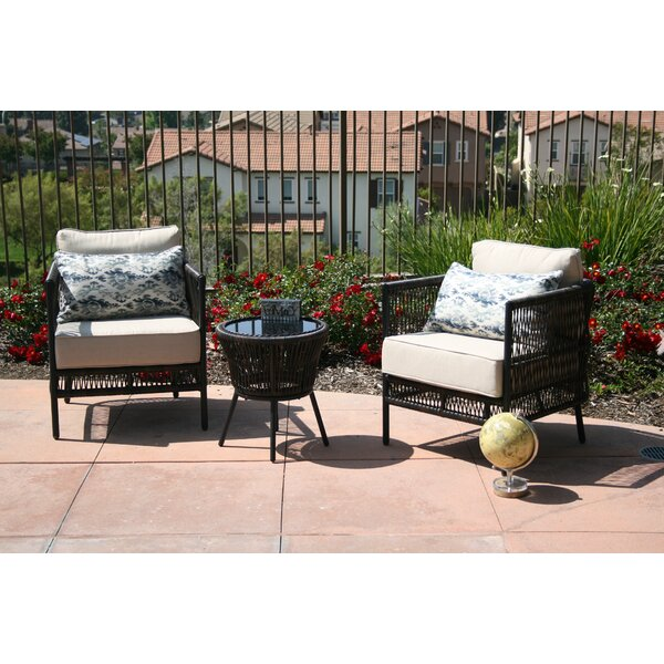 Quirion 3 Piece Seating Group with Cushions by Wrought Studio
