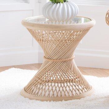 Rosana Rattan Glass Top Pedestal End Table By Mistana