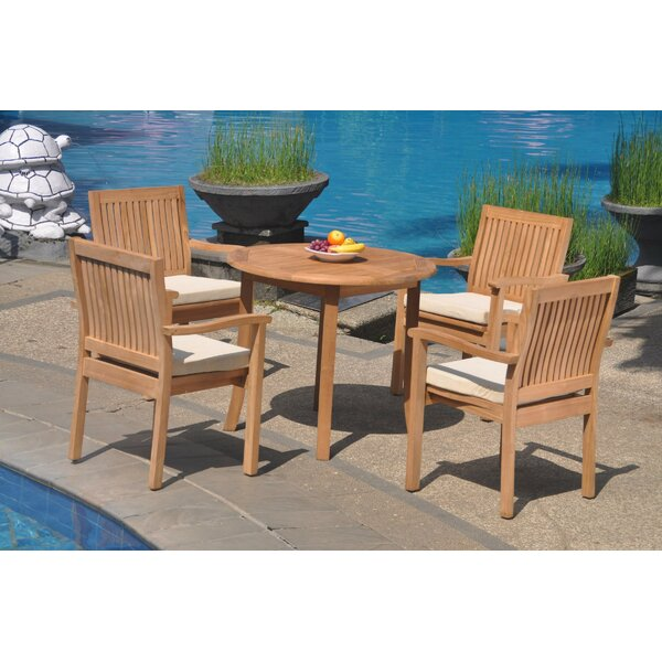 Zavier 5 Piece Teak Dining Set by Rosecliff Heights
