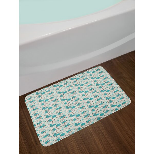Doodle Style Turquoise Bath Rug by East Urban Home