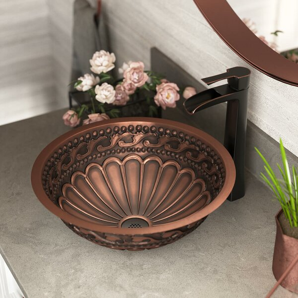 Copper Metal Circular Dual Mount Bathroom Sink With Faucet