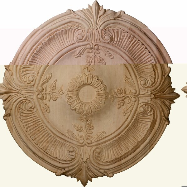 Acanthus Leaf 24H x 24W x 2.25D Carved Red Oak Ceiling Medallion by Ekena Millwork