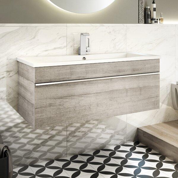 Trough 42 Wall Mounted Single Bathroom Vanity Set