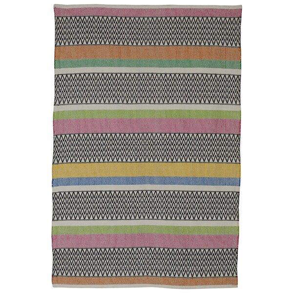 Fab Habitat Zen Maya Hand Woven Cotton Black/Pink/Green