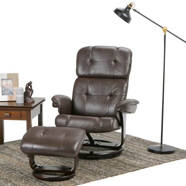 Merrin Manual Swivel Glider Recliner With Ottoman by Simpli Home
