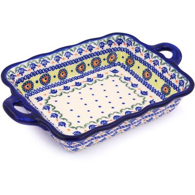 Polish Pottery Rectangular Baker with Handle by Polmedia