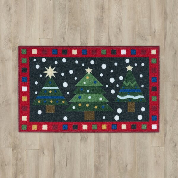 3 Trees Green/Red Area Rug by The Holiday Aisle
