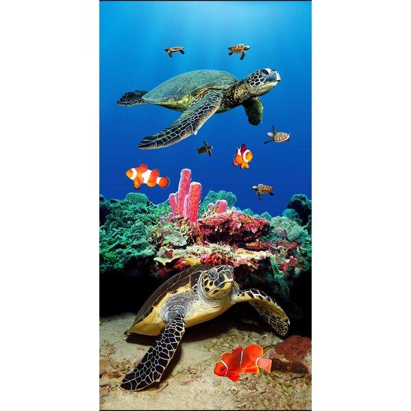 Turtle Fantasy Velour Beach Towel by East Urban Home