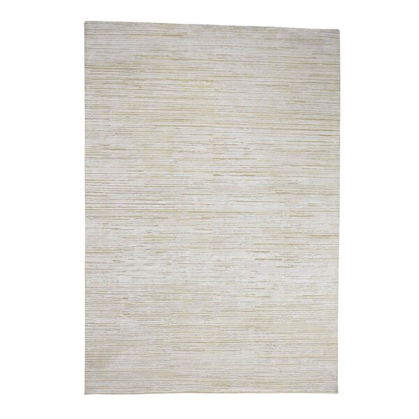 One-of-a-Kind Pyatt Modern Oxidized with Oriental Hand-Knotted Silk Ivory Area Rug by World Menagerie