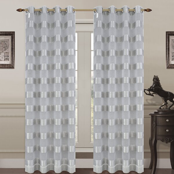 Monica Striped Sheer Grommet Curtain Panels (Set of 2) by Urbanest