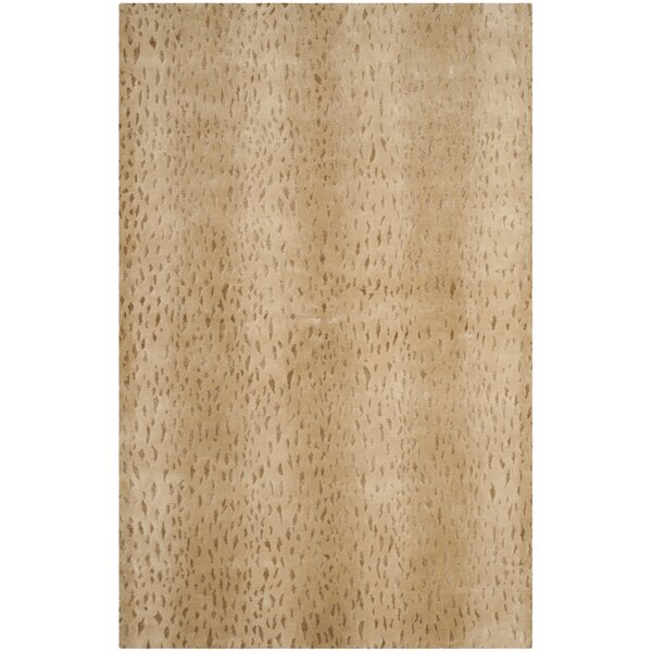 Anguiano Hand-Knotted Beige Area Rug by Mercer41