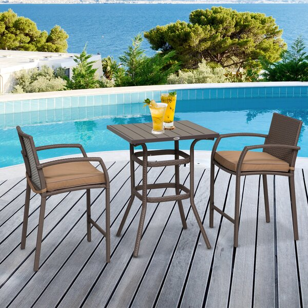 Abbate Outdoor 3 Piece Bistro Set with Cushions by Ebern Designs