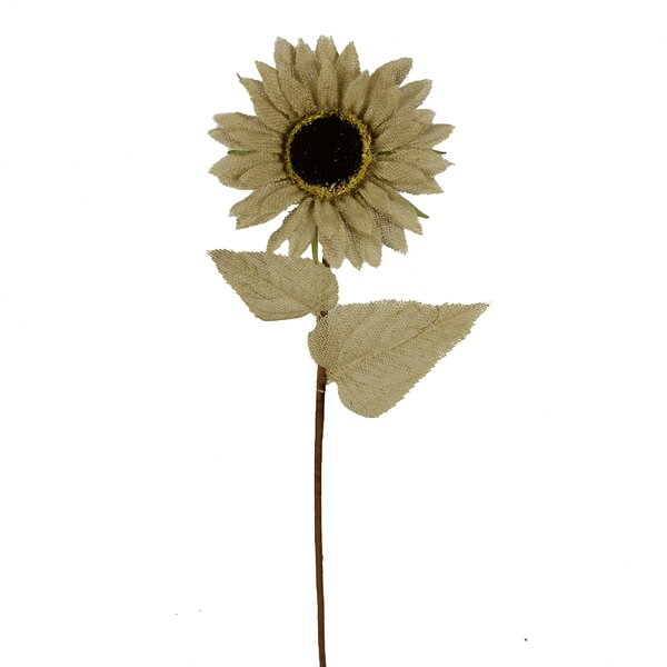 Burlap Sunflower Stem with 2 Leaves by Admired by Nature