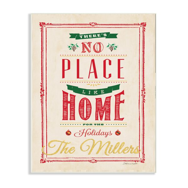 Personalized No Place Like Home Holiday Textual Art on Plaque by Stupell Industries