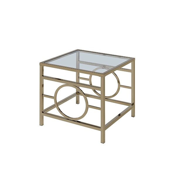Singletary Glass Top Metal Base End Table by Mercer41 Mercer41