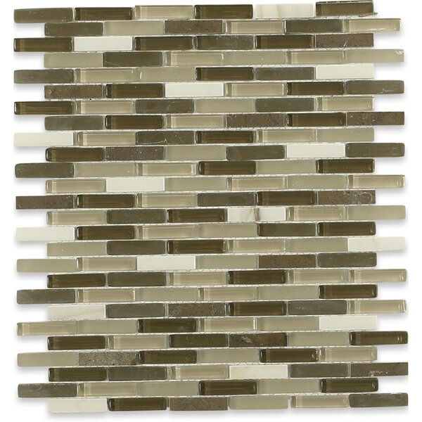 Cleveland 0.5 x 1.5 Glass/Marble Mosaic Tile in Frosted Brown/Dark Brown/Tan by Splashback Tile
