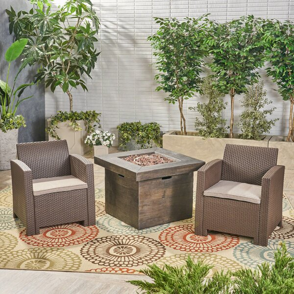 Helena Outdoor 3 Piece Wicker Print Sofa Seating Group with Cushions by Alcott Hill