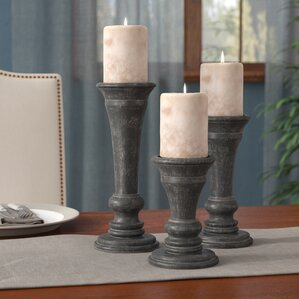 3 piece black wood candlestick set