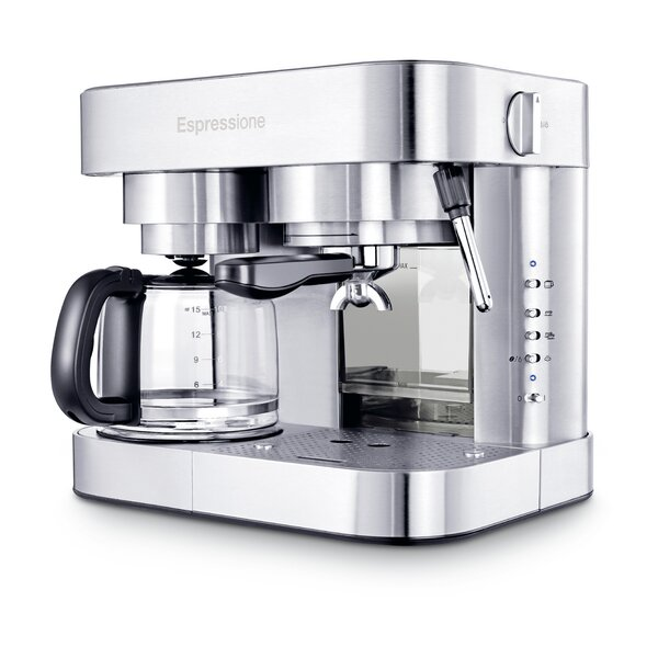 Stainless Steel Combination Espresso Machine and 10 Cup Drip Coffee Maker by Espressione