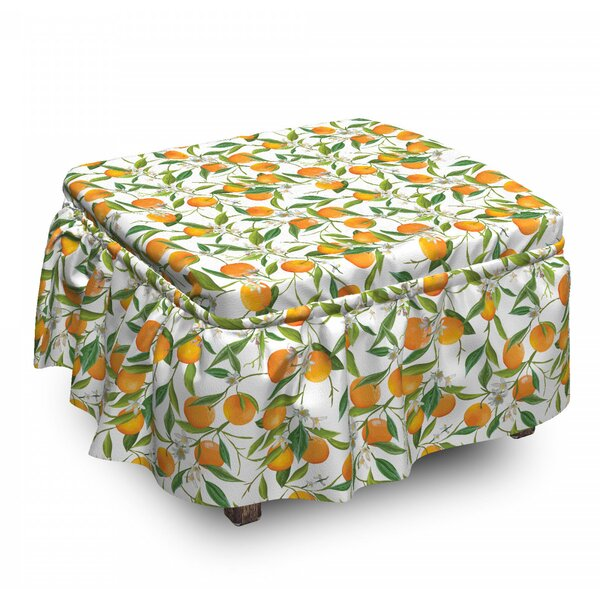 Orange Branch Ottoman Slipcover (Set Of 2) By East Urban Home