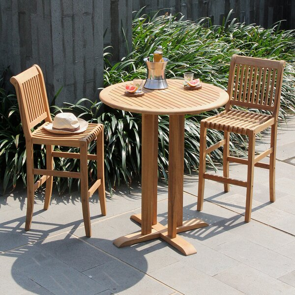 Acree 3 Piece Teak Bar Height Dining Set (Set of 3) Bayou Breeze W000933313