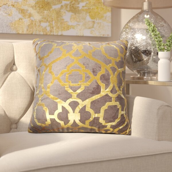 Hythe Gold Foil Throw Pillow by House of Hampton
