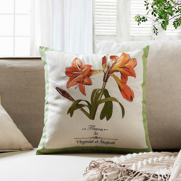 Tiger Lily Embroidered Throw Pillow by 14 Karat Home Inc.