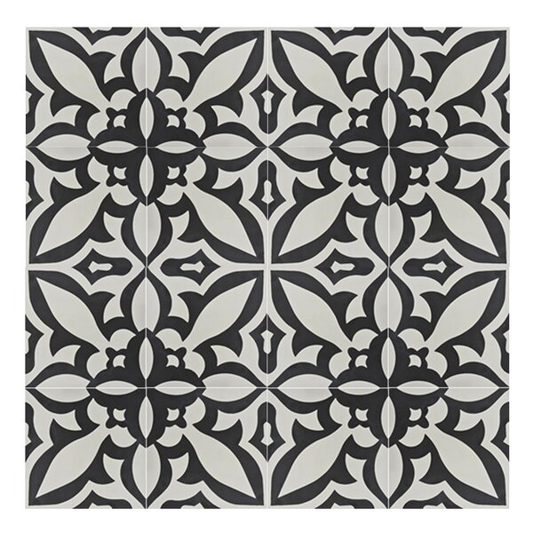 Meknes 8 x 8  Handmade Cement Tile in Black/White by Moroccan Mosaic
