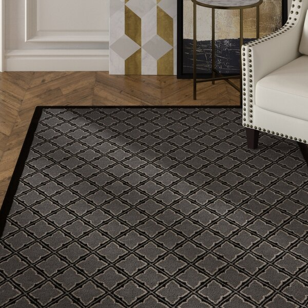 Hartz Silver/Black Area Rug by House of Hampton