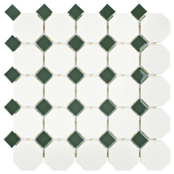 Retro Random Sized Porcelain Mosaic Tile in Matte White/Green by EliteTile