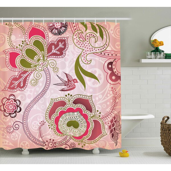 California Ethnic Indian Asian Floral With Scroll Swirl Leaf Lines Boho Artwork Shower Curtain by World Menagerie