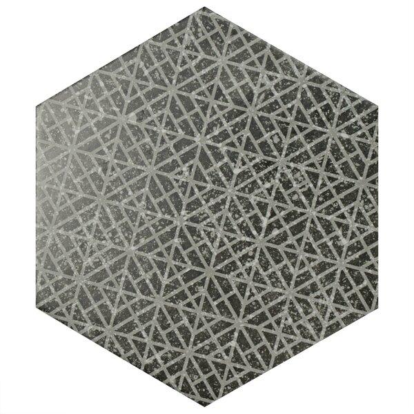 Lunastone Hexagon 10 x 11.5 Porcelain Field Tile Floor and Tile in Black/Gray by EliteTile