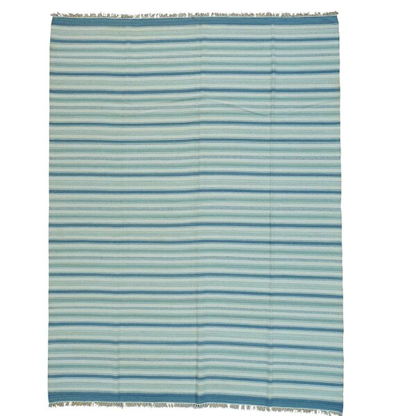 Durie Kilim Flat Weave Hand-Knotted Blue/Ivory Area Rug by Bloomsbury Market